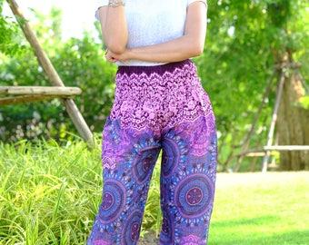 Hippie pants hobo pants harem pants cozy pants pink-blue