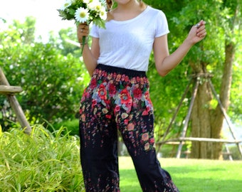 Flower pants harem pants hippie pants cozy pants Black