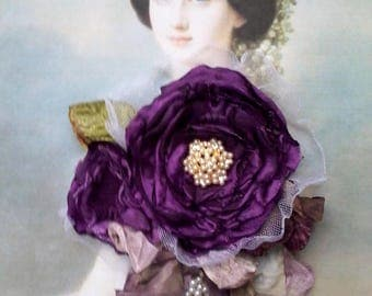 purple Silk rose brooch,  mother of the bride, shabby chic brooch, romantic flower pin, floral corsage, wedding jewelry, silk rose,