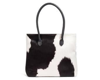 Black and White Cowhide Bag | Black and White Tote | Black and White Bag