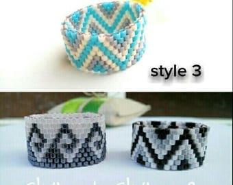 Peyote ring everyday wear ring, bohemian ring, beaded miyuki ring, wide band ring, minimalist ring, beaded ring, geometric ring bohemian