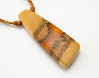 Gold Resin and Wood Pendant; Wood and Resin Jewelry, Wood and Resin Pendant, Resin Jewelry; Resin