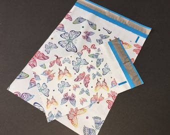100 6x9 and 10x13 BUTTERFLIES Poly Mailers 50 each Self Sealing Envelopes Shipping Bags