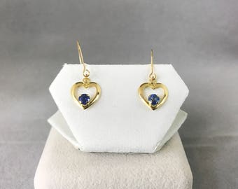 10K Yellow Gold Natural Sapphire (0.50 ct) Hoop Earrings