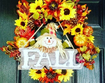 Fall Door Wreath, Fall Wreath, Scarecrow Wreath, Sunflower Wreath, Autumn Wreath, Thanksgiving Wreath, Fall Decor, Pumpkin Wreath