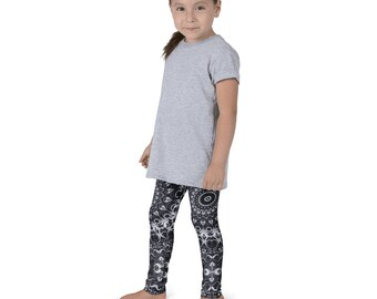 Kids Leggings, Cute White and Black Leggings for Girls, Children's Printed Yoga Pants, Mandala Design