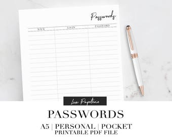 Password tracker, Password planner pages, Printable planner inserts, A5 Planner inserts, Personal planner inserts, Pocket planner inserts