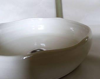 Flat washbasin / cream 32 cm height white Ø 9 cm