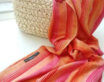Vintage woman scarf designer SONIA BURATTI Long Orange striped Scarf Summer festive bright Shawl wrap multicolored Red orange Huge sarong