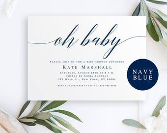 Oh baby invite Editable baby shower invitation Oh baby invitation Neutral baby invitations Editable baby shower invite Simple baby shower