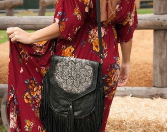 Leather Bag * Black Purse * Mandala * Shoulder * Fringe  * Cross body * Handmade * Hand Carved * Boho * Bohemian * Hippie * Unique