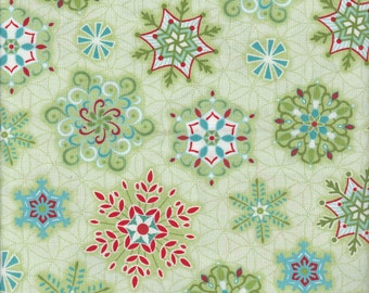 Sparkle - Per Yard - Contempo by Benartex - by Amanda Murphy - Multi Snowflakes on Green