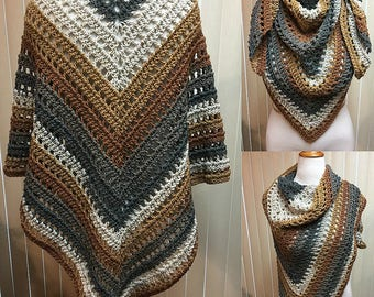 Gray and Brown Crochet Shawl Wrap Triangle Scarf Large, 100% Acrylic Handmade Crochet, Ladies Women's Gifts for Her Fashion Accessories