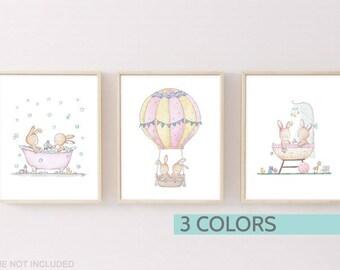 Woodland nursery decor, Bunny wall art, Nursery prints set of 3, Woodland theme, Girl nursery print