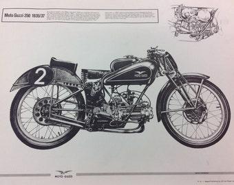 Vintage Racing Drawing Print Poster Moto Guzzi 250 1935/37 Original Print Italian Motorcycle Racing
