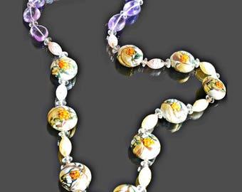 """Vintage Necklace, Designer Necklace, Gemstone Necklace, Floral Necklace, Murano Bead Necklace, Amethyst Necklace, Handmade Necklace, 26"""""""