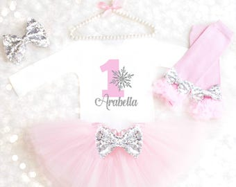 Winter Wonderland Outfit Snowflake First Birthday Outfit Pink Silver Cake Smash