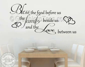 Bless The Food Before Us Inspirational Family Wall Sticker Quote Kitchen Dining  Room Wall Art Decor Part 26