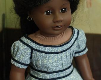 1865 Blue Civil War Era Dress 18 Inch Doll Clothes
