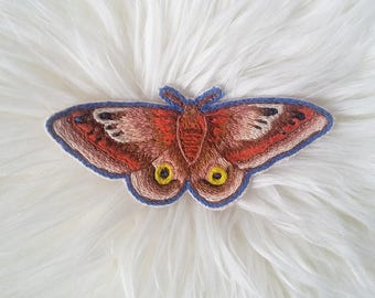 Io Moth Patch - Hand Embroidered, Sew on Patch, Textile Art, Hand Stitched, Moth, Entomology