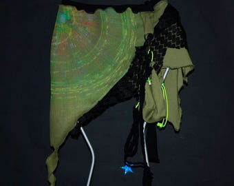 Skirt, UV active skirt, psy trance Goa, pixie skirt, skirt with bag