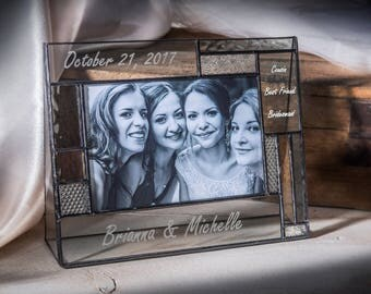 Wedding Picture Frame Personalized Wedding Gift for Bridesmaid Engraved Stained Glass Photo Frame 4x6 Horizontal Pic 392-46H EP 568