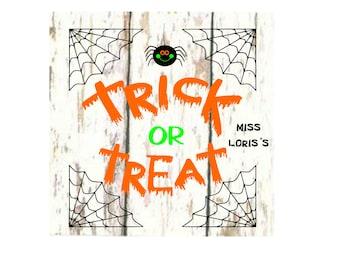Trick Or Treat spider sign decal l Halloween SVG DFX Cut file  Cricut explore filescrapbook vinyl decal wood sign t shirt cricut cameo