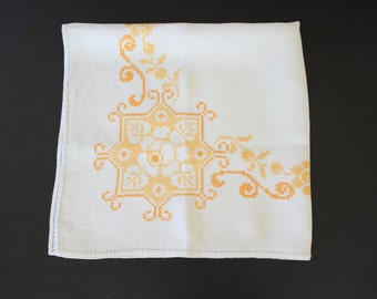 Vintage Hand Embroidered Linen Tablecloth Orange on White Floral Motif Square Tablecloth