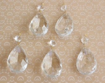 Vintage Chandelier Crystals Large Teardrop and Octagonal Crystals Lot of Five