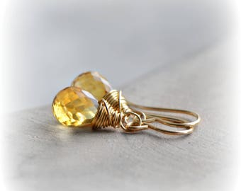 Citrine Earrings, Citrine Dangle Earrings in Gold, Small Citrine Gemstone Earrings, Gift for Her, November Birthstone Earrings, Blissaria