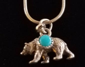 """CP011: Vintage Solid Sterling Silver 16"""" Snake Chain Necklace with Solid Bear Pendant with Turquoise"""