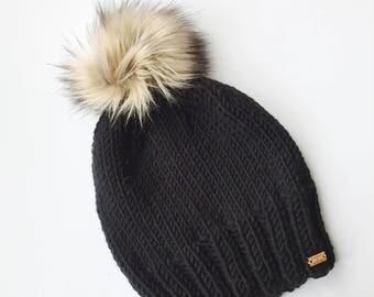 Knitting Pattern - Hat // Campfire Faux Fur Pom Pom Hat