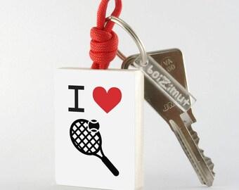 """Porte-Clé Sport """"I love tennis"""""""