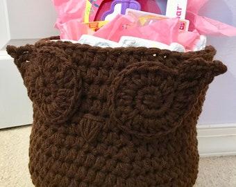 Owl Basket, basket, crochet basket, gift basket, toy storage, laundry basket, owl, baby gift, towel basket, storage, organization