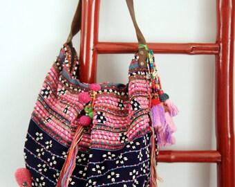 Karen Ethnic Bag/Hill Tribe Bag/Boho Style Bag/Bohemian Bag/Unique Bag/Colorful Bag/Tribal Bag/Tassels Bag/Shoulder Bag/Fabric Bag/B7