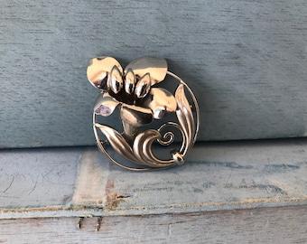 Sterling Silver Flower Brooch Pin 10g