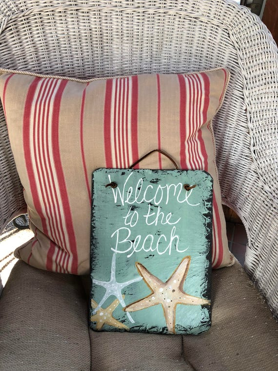 Welcome to the Beach welcome sign, Coastal Door Hanger, Seaside, Beach house decor, Coastal decor, Beach wall hanging
