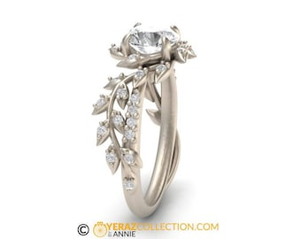 leaf engagement ringwhite gold 14kmoissanite center stonenature inspired diamond leaf - Nature Inspired Wedding Rings