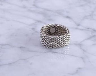 Tiffany & Co Sterling Somerset Mesh Ring (6.5 to 7 size) (k)