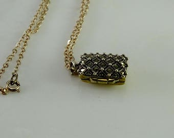 Sterling Marcasite Locket on an Italian Sterling Chain 19""