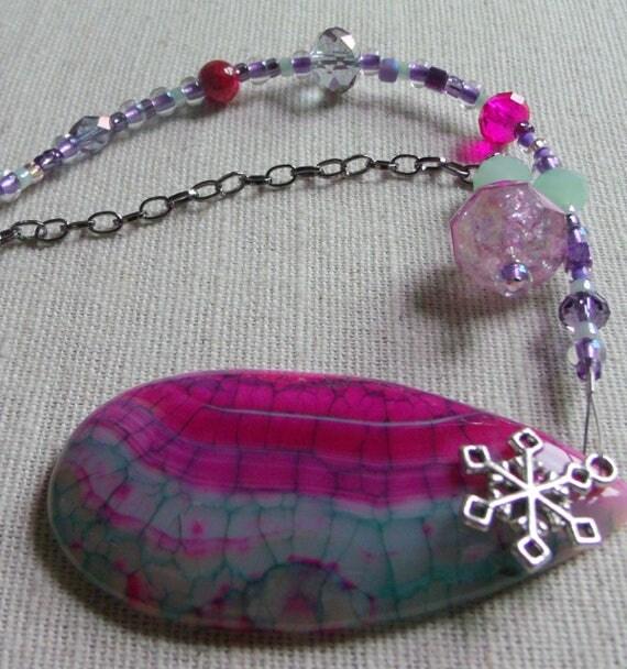 Christmas gem stone ornament - pink tree agate pendant - silver holiday charms - beaded decor ideas - pink teardrop - Lizporiginals