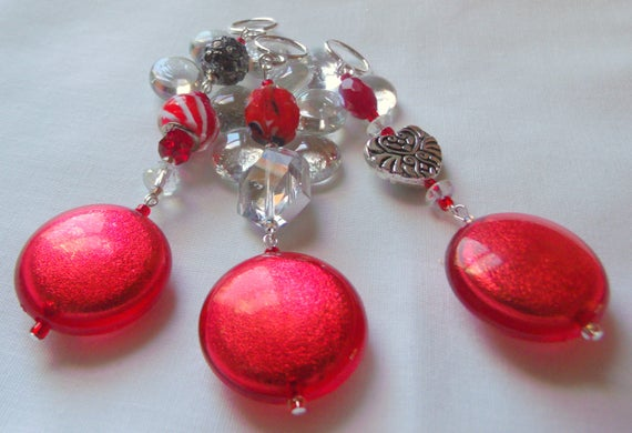 Large red ornament - round disk beads - silver accents - novelty design - festive crystal gift sets - hanging decor  - Christmas - favors