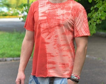 Shibori dyed handcrafted t-shirt. Irregular damaged look. Japanese inspired tee. Japanese motif. Vintage. Limited edition.Made in Japan