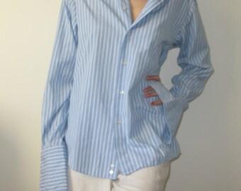 Z ZEGNA Ermenegildo Zegna Men's Blue White Striped Shirt