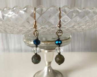 Earrings with among other labradorite