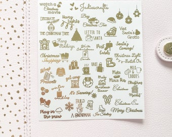 Foil Christmas Bucket List Stickers | Christmas Planner Stickers