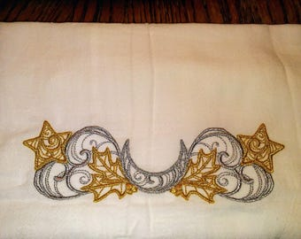 Silver and Gold Moon Embroidered Flour-Sack Kitchen Towel