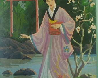 Vintage Paint by Number Japanese Geisha-16x20 inch