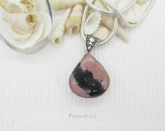 Vintage Rhodonite Sterling Silver Pendant and Chain