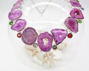 Pink Agate Drusy Garnet Peridot Sterling Silver Necklace